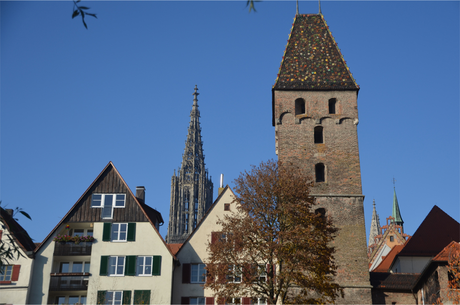 "Metzgerturm (""Butchers' Tower"") and the Münster's spire in the background"