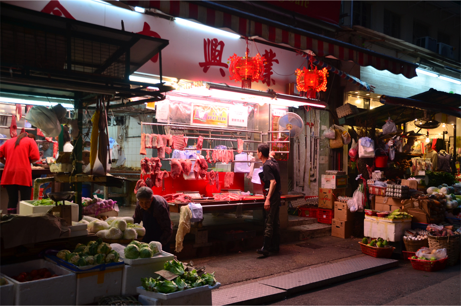 Butcher's stall, Central wet markets