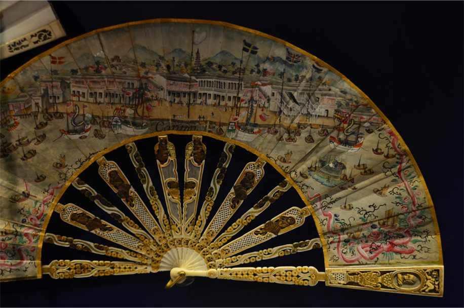 A painted folding fan with ivory sticks, c.1780