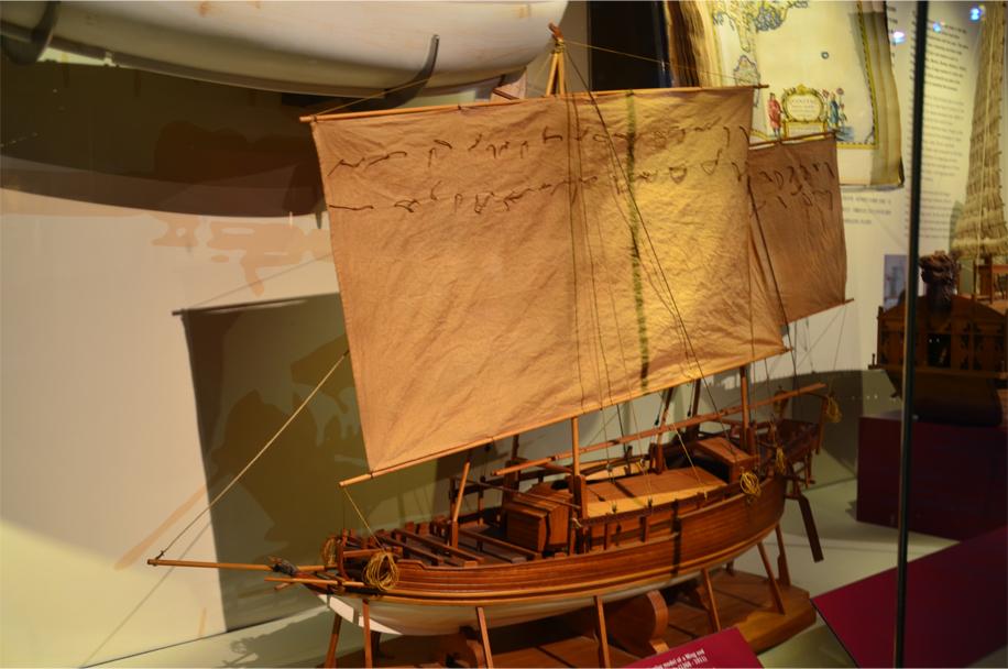Model of a 16th century 'Perahu Makassar' (or 'padewakang'), native to Indonesia