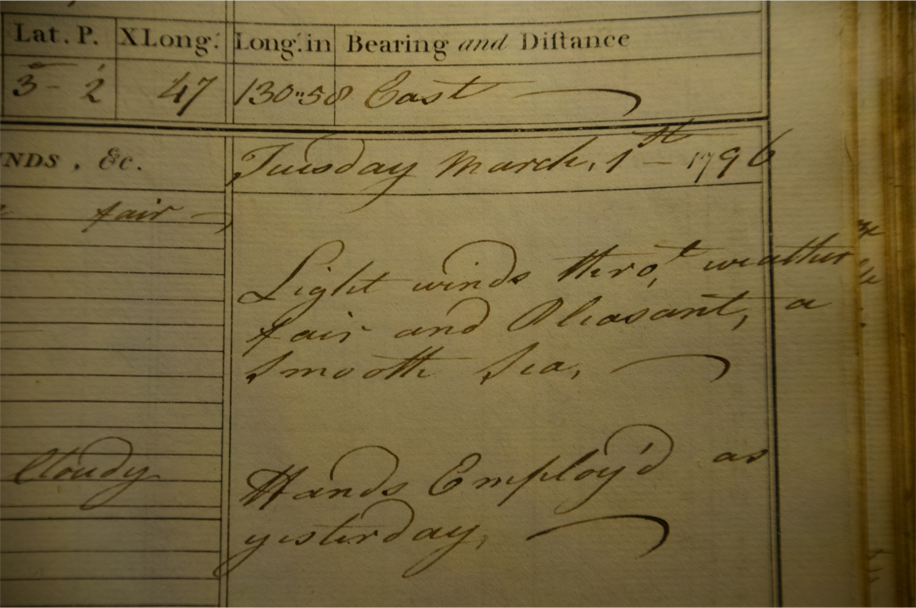 Record from a ship's log