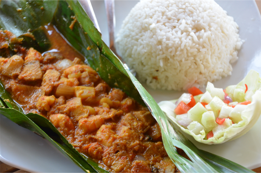 Pepes seafood - steamed and grilled in banana leaf