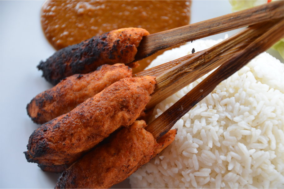 Sate pusut ayam - minced chicken skewers