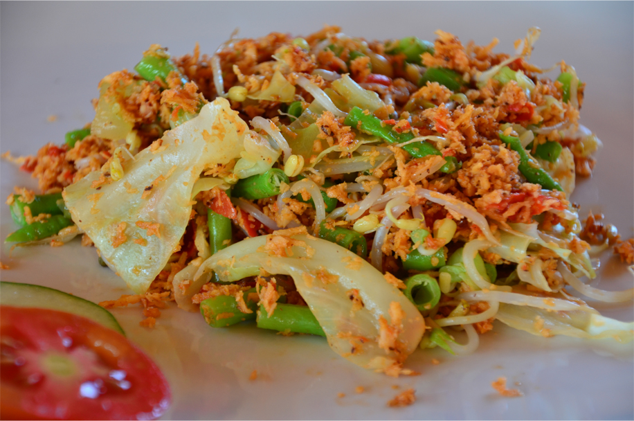 Urap-urap - steamed vegetables with spiced, grated coconut