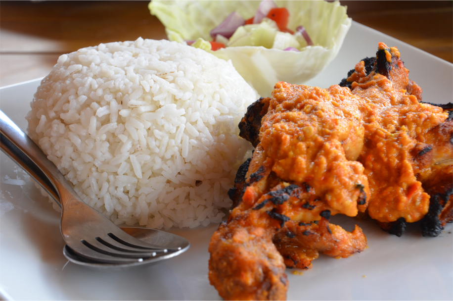 Ayam bakar taliwang - grilled chicken in a sauce of garlic, chilli, coconut and shrimp paste
