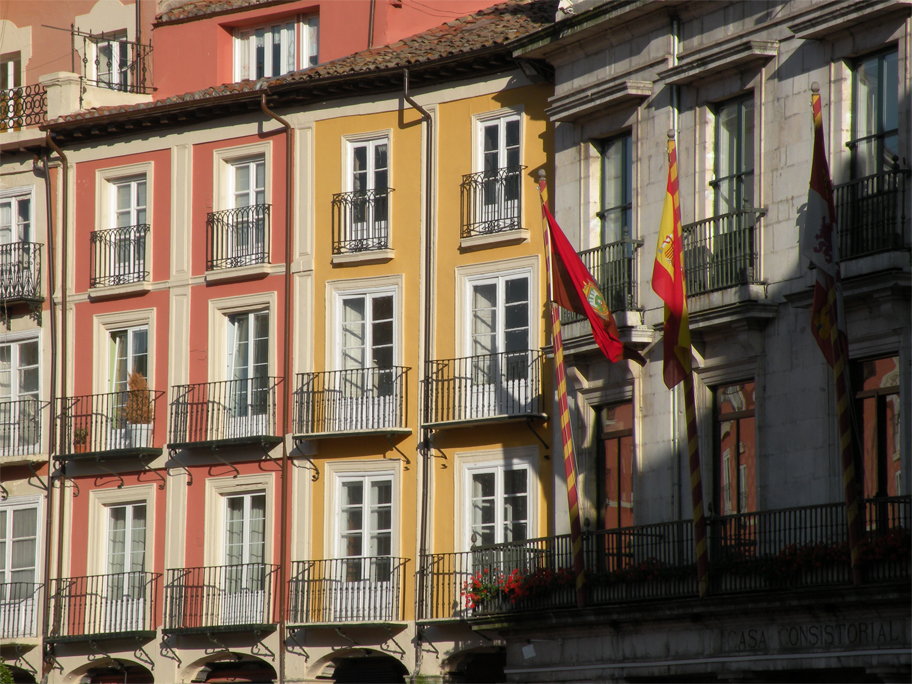 Facades in the shell-shaped Plaza Mayor
