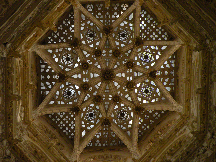 The lantern's star-shaped ceiling