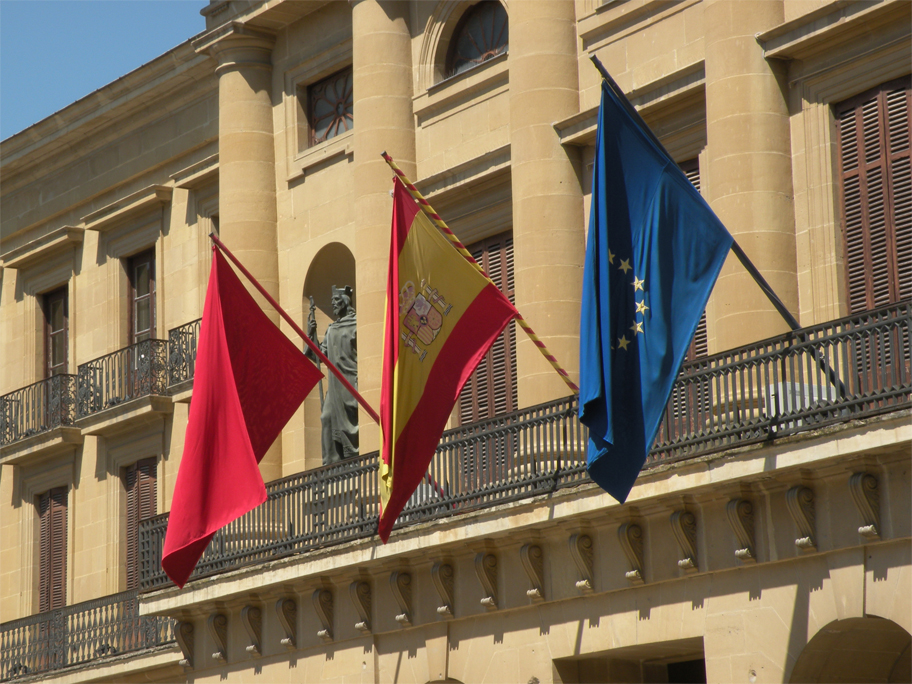 Flags on the Palacio de Navarre, the regional seat of government