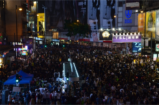 The same scene in Causeway Bay, earlier tonight