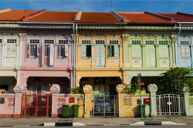 Candy-coloured houses on Koon Seng Road