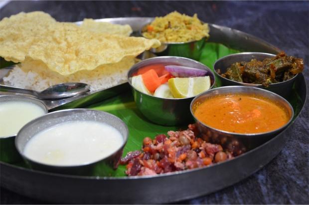 A 10-dish thali in Madurai, Tamil Nadu
