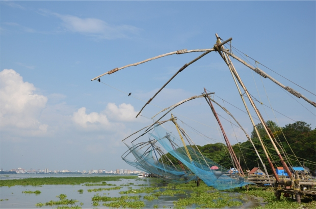 Chinese fishing nets in Kochi, Kerala