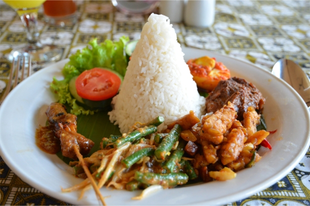 Nasi campur (a mixed platter with rice) at Cafe Batavia
