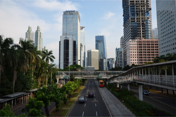 Looking down Jalan Sudirman in the central business district