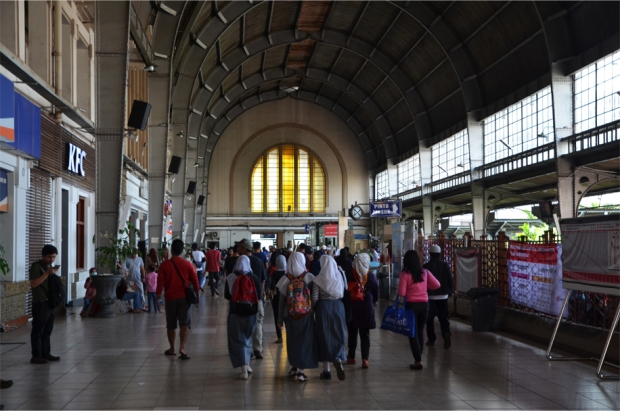 Inside the main hall of the Jakarta Kota Station, an Art Deco edifice