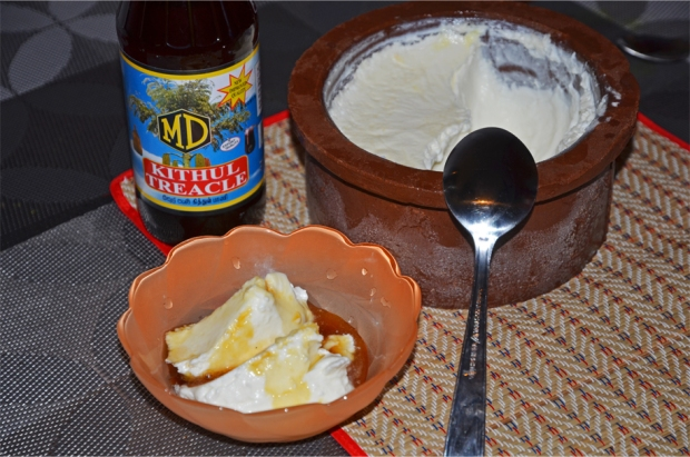Buffalo curd, served with kithul palm treacle