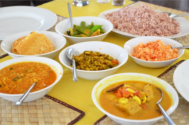 A very salty assortment of curries and sambol in Hikkaduwa