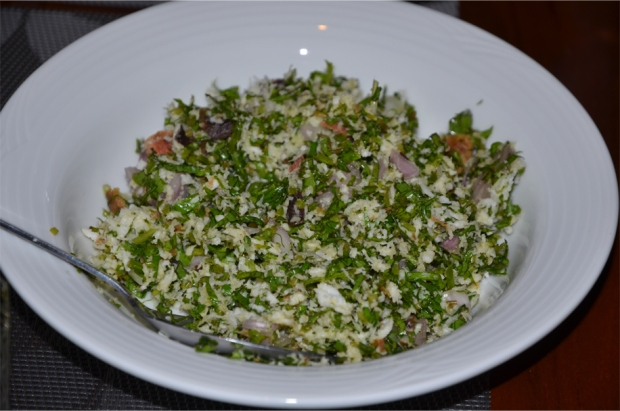 Achini's gotukola sambol - pennywort salad with red onion and grated coconut