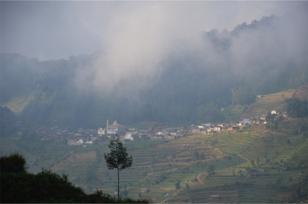A mountain village, seen en route to Dieng
