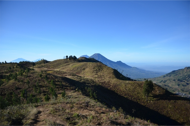 The windswept grassland atop Mt. Prahu