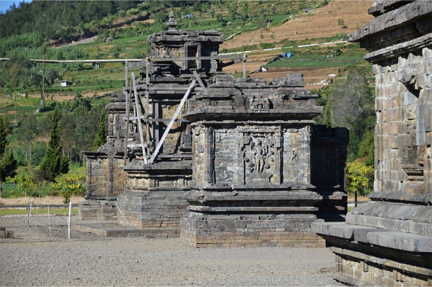 Candi Sembadra (back), Puntadewa and Srikandi, decorated with a relief of Vishnu.