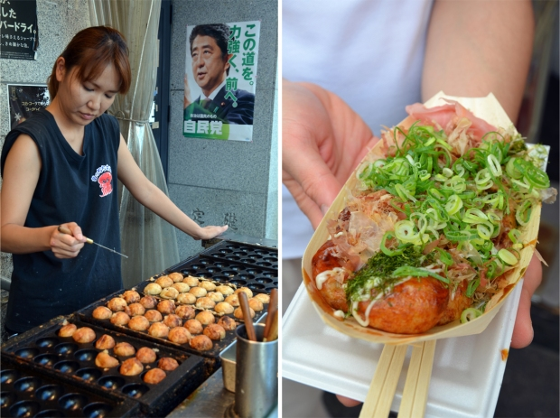 Making takoyaki (octopus-stuffed batter balls); the garnished final product