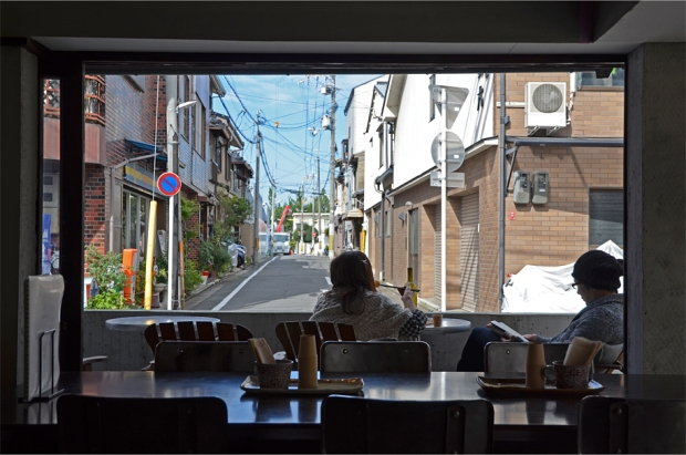 Enjoying lunch on the terrace of Sagan, a Higashiyama café