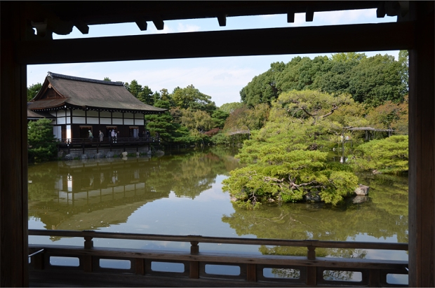 Framed views from a covered bridge in Heian Shrine's east garden