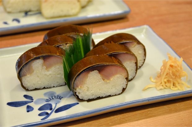 Sabazushi - a Kyoto-style sushi of lightly pickled mackerel with rice and kombu