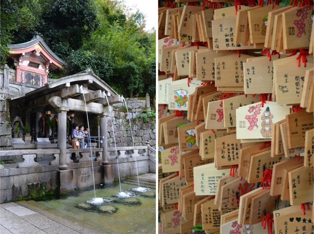 The sacred waterfall and votive plaques (inscribed with prayers or wishes) at Kiyomizu-dera temple