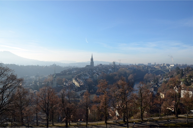 Bern's old city as seen from the Rosengarten