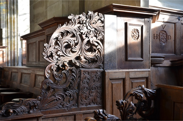Decorative flourishes on the choir stalls