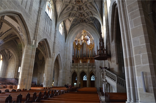 A magnificent Baroque organ dominates one end of the nave