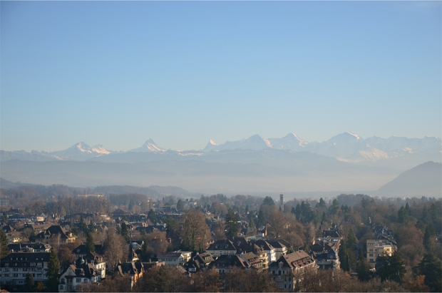 A view of the Bernese Alps, with Eiger, Mönch and Jungfrau clearly seen on the right