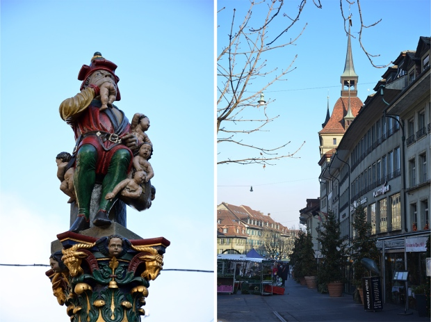 Kindlifresserbrunnen, a medieval fountain depicting a child-eating ogre; Bärenplatz square