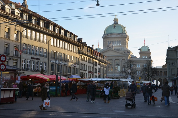 A farmers' market on the Bärenplatz, outside the Swiss Parliament Building