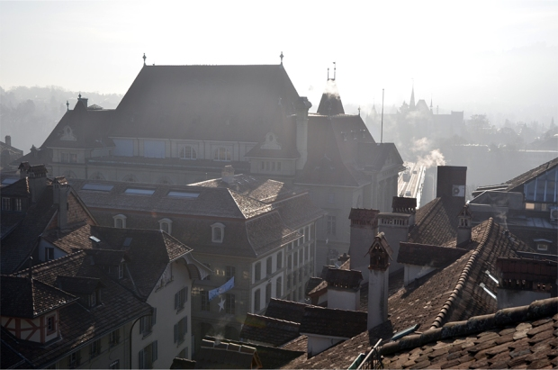 Rooftops in the morning mist