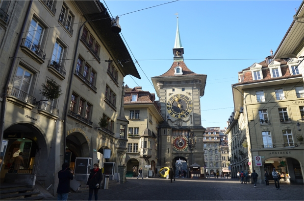 The iconic Zytglogge dominates one end of the Kramgasse