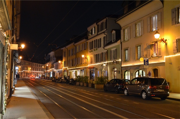 Tram tracks running down the main street in Carouge