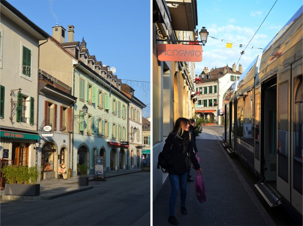 Street scenes in Carouge, where the buildings have an Italian flair