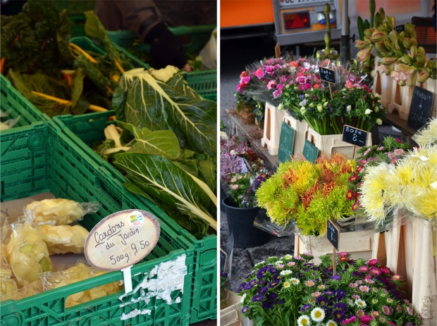 Details from Carouge's twice-weekly market on Place du Temple