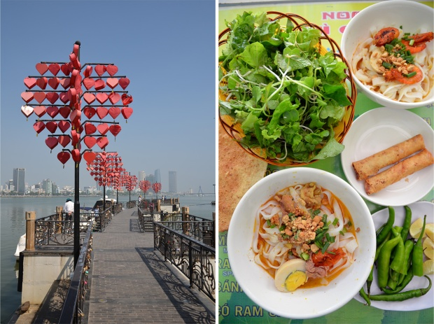 Love Pier, festooned with heart-shaped lanterns and locks; Quang noodles at Ba Vi