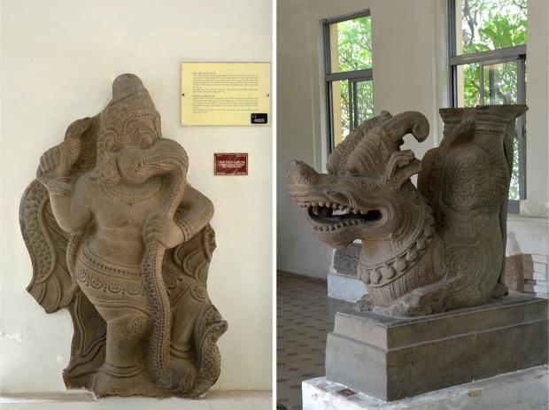 Garuda devouring a serpent; a Cham dragon